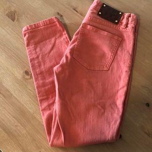 Tory Burch Orange Cropped Skinny Jeans
